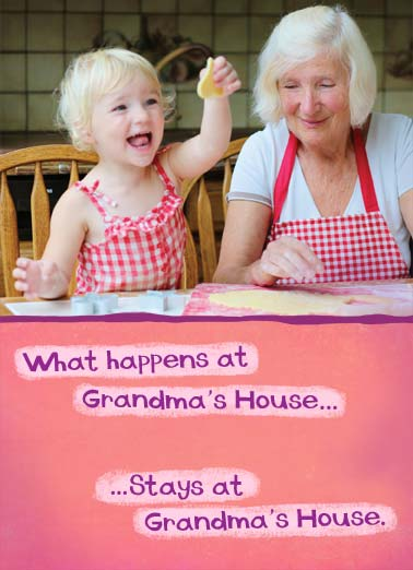 Grandmas House Funny Mothers Day Card For Grandma Grandchild Baking Kid Child Parent Happens