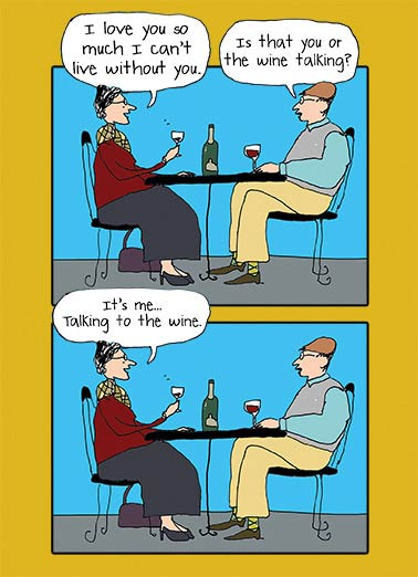 Wine Talking Funny Cartoons Card Wine   Happy Birthday