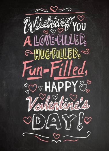 Wishing You Funny Valentine's Day Card Hug A Sweet Valentine Wish | fun, hug, filled, chalkboard, valentine, lettering, fancy, fun  ...With all my heart!