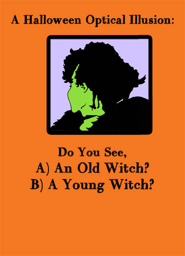Funny Halloween Card  Halloween Optical Illusion | Old witch, young witch, princess, illusion, halloween, puzzle, funny, joke, meme, see,