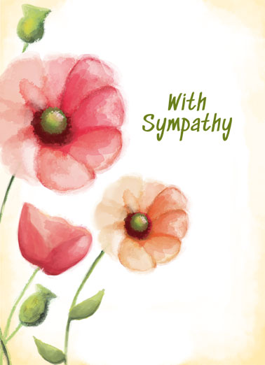 With Sympathy Funny  Card  Let someone know that you're thinking of them in this difficult time by sending them a personalized greeting card. | with deepest sympathy thoughts and prayers roses watercolor thinking of you flowers illustration suffering loss sadness comfort  At this difficult time just know you're in our thoughts and prayers.