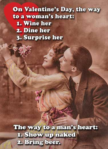 Woman's Heart Funny Valentine's Day Card Vintage The Way to a Woman's Heart, and the Way to a Man's Heart on Valentine's Day...  Happy Valentine's Day