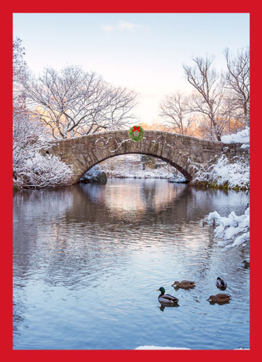 Wreath Bridge Vertical Funny Christmas Card Season's Greetings Send out your personalized company holiday cards with ease! | Happy holidays Christmas seasons greetings  Wishing you all the quiet joy of the season