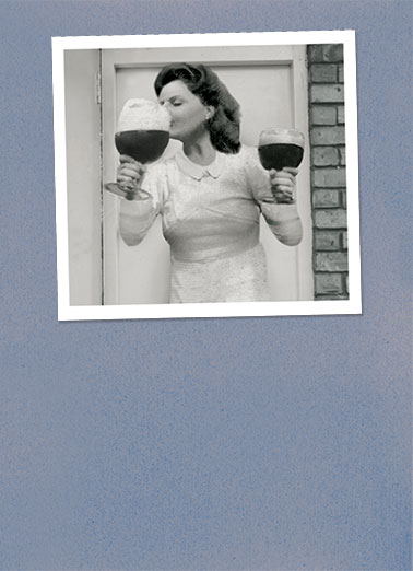 Wynona Drinking Funny Vintage Ice Cream Cake Birthday Cards
