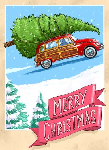 XMAS Headed Funny Christmas  Christmas Wishes An illustration of a vintage car carrying a Christmas tree with the word, 'Merry Christmas'. | XMAS Christmas Merry car retro vintage snow snowing tree pine headed big headed cartoon illustration drive driving  Hope you're headed for a big beautiful holiday!