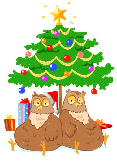XMAS Hooters  Funny Animals  Christmas An illustration of two owls sitting under a Christmas tree. | merry Christmas ornaments owls owl hooter hooters present gift gifts star tree december cartoon illustration hat wish ask brought For Christmas, Santa brought you that big pair of Hooters you asked for.