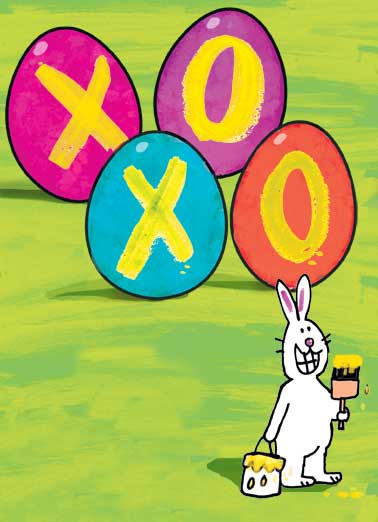 XOXO Bunny Funny Love Card Easter Easter Hugs and Kisses | hugs, kisses, bunny, cute, paint, eggs, dye, dyeing, cute, whimsy, sweet, miss you, love, heartfelt, xoxo, kiss, hugging, rabbit, painting, thinking of you, soft, illustration  Sending you Easter Hugs & Kisses.