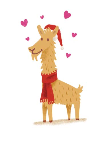 Christmas Llama Funny Christmas Card Funny Llama wearing a scarf on a christmas card, cute llama wearing scarf on sweet christmas card, say merry christmas with this cute illustration of a llama wearing a scarf, llama in scarf says llots of llove to you at christams, Llots of llove to you at Christmas.