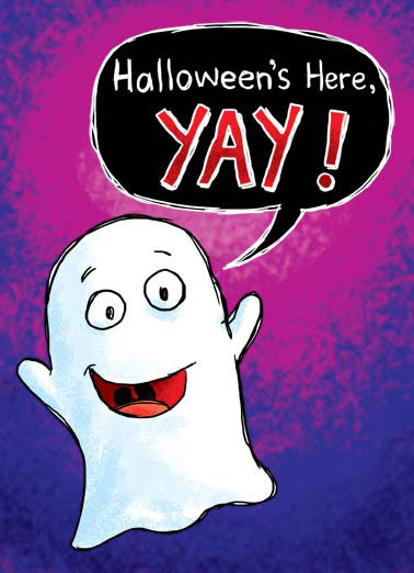 Yay Funny Cartoons  Halloween A ghost is happy it is halloween is here, but is sad that you are not. | ghost yay halloween scary boo candy cartoon illustration You're not... BOO!
