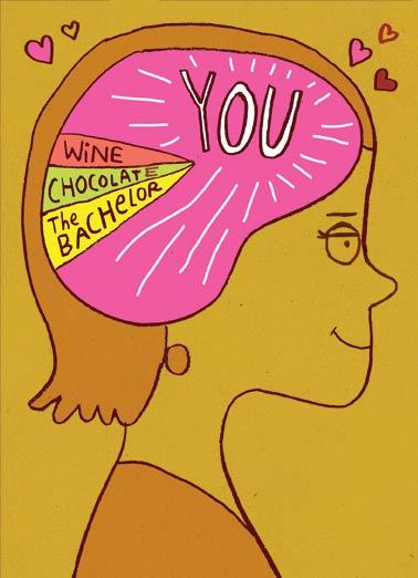 "You on Mind Funny Valentine's Day Card  I think about you | Val, valentine, to him, from her, funny, thinking, brain, thoughts  Valentine - ""YOU"" are almost always on my mind!"