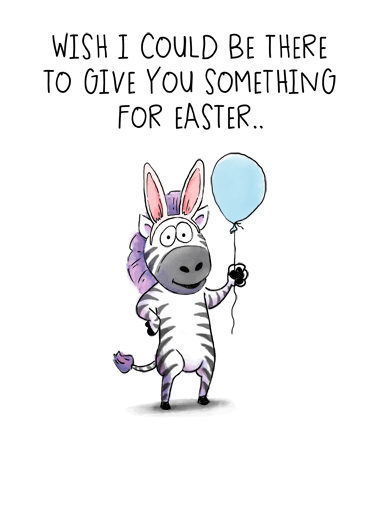 Zebra Easter Funny Easter Card  A big hug from me! | zebra Easter happy fun silly cartoon illustrated watercolor balloon A big hug from me!